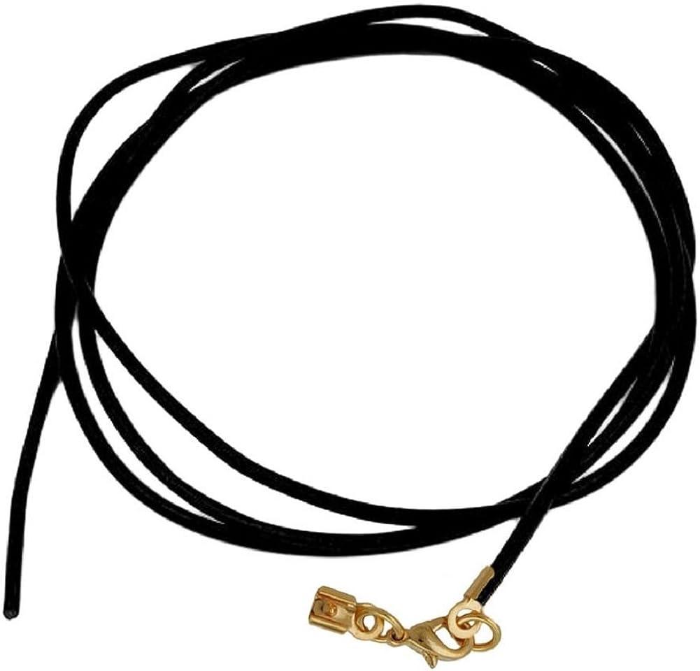 unbespielt Joyas cordón de Cuero Negro Cadena Longitud 100 cm Ancho 2.0 mm mosquetón Color Oro. La Longitud Puede acortarse