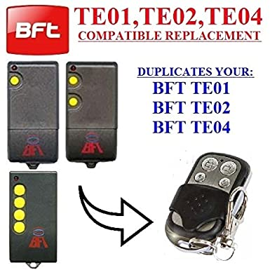 BFT TE01, BFT TE02, BFT TE04 Compatible remote control transmitter for  garage gate automation, Top Quality keyfob  433,92MHz fixed code / clone