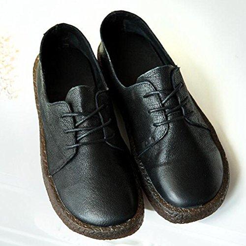 rétro plates Femme a MatchLife lacets Noir Automne chaussures en cuir souple Hw7qxnCBx