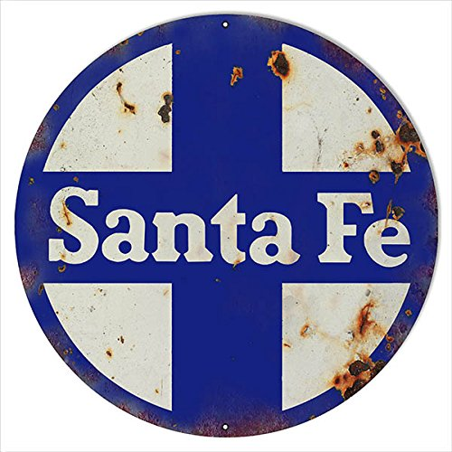 Large Aged Looking Santa Fe Railroad Sign 18 Round