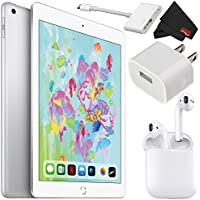 Apple 9.7 Inch iPad (Early 2018 Version, 32GB, Wi-Fi Only, Silver) MR7G2LL/A - Deluxe Bundle w/Apple Airpods and Apple Lightning Digital AV Adapter