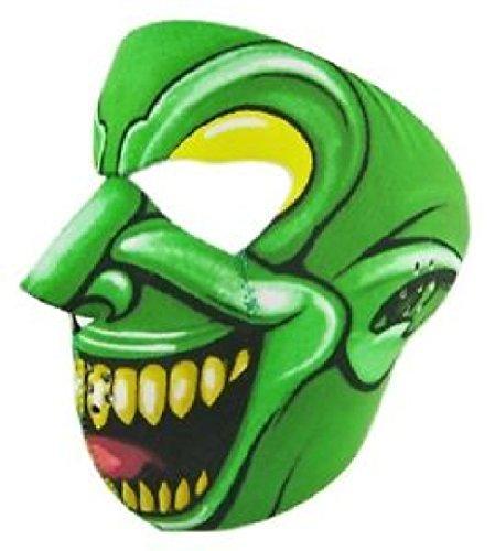 Goon Jester Clown Neoprene Face Mask Green Joker Biker Costume Reverses ()