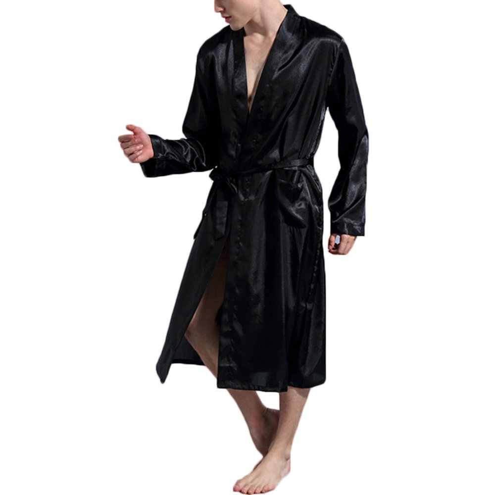 Opkelana Men's Solid Color Satin Robe Long Bathrobe Lightweight Sleepwear(Black,XXL)