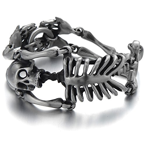 COOLSTEELANDBEYOND Large Stainless Steel Skull Skeleton Bracelet for Men for Boys Gothic Punk Old Used Metal Treatment