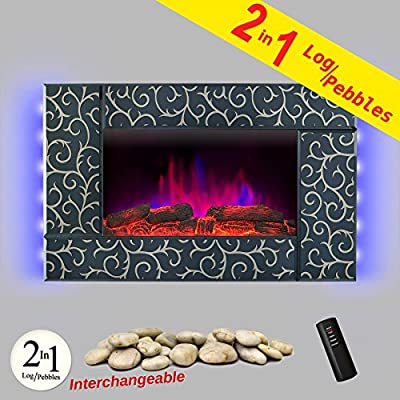 "AKDY Wall Mount 36"" 1500W Adjustable Heater Log Pebble 2 in 1 Electric Fireplace w/ LED Backlights Log Set 2 Setting Flame Effect w/ Remote"