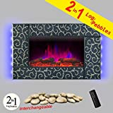 AKDY Wall Mount 36″ 1500W Adjustable Heater Log Pebble 2 in 1 Electric Fireplace w/ LED Backlights Log Set 2 Setting Flame Effect w/ Remote