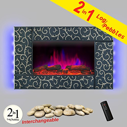 AKDY Wall Mount 36' 1500W Adjustable Heater Log Pebble 2 in 1 Electric Fireplace w/ LED Backlights Log Set 2 Setting Flame Effect w/ Remote