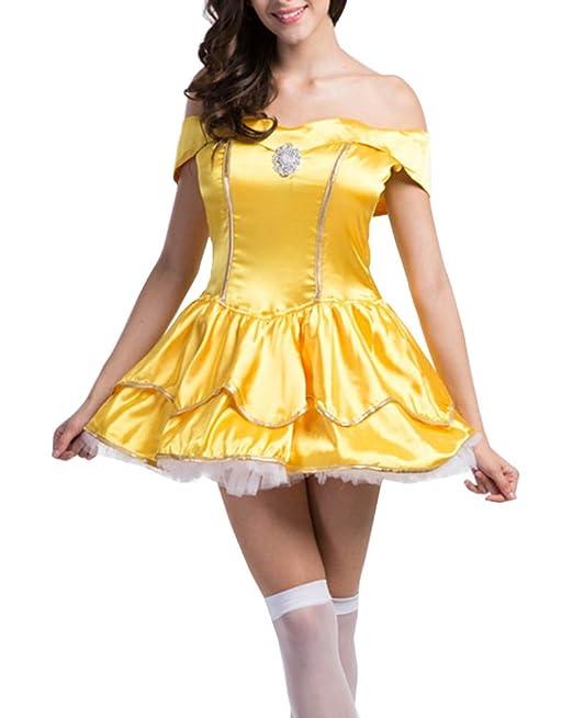 Mujer Princesa Mini Corto Vestidos Disfraces Fiesta Halloween Cosplay Traje De Cuento De Hadas Amarillo 2XL