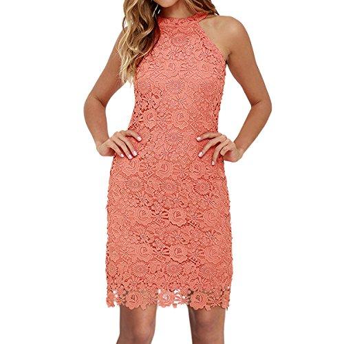 Sue&Joe Women's Sheath Dress Halter Floral Lace Crochet Above Knee Bodycon Dress, Pink, TagsizeXXL=USsizeL (Halter Lace Wedding Dress)