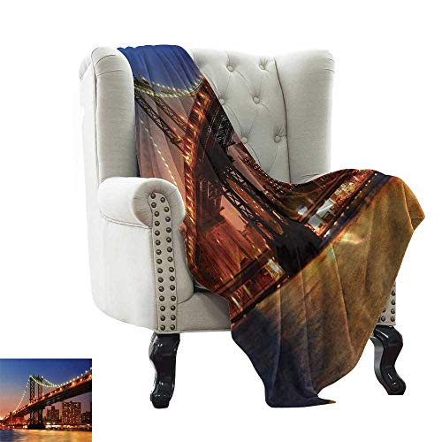 Flannel Fleece Blanket New York,Manhattan Bridge with Night Lights Over Hudson River Brooklyn Popular Town Image,Blue Orange Reversible Soft Fabric for Couch Sofa Easy Care 60