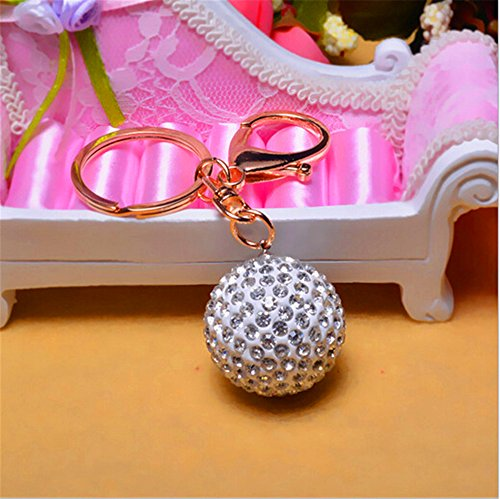 Jzone Rhinestone Disco Ball Key Ring Handbag Dangle Keychain Pendant Accessories for Cell Phone -