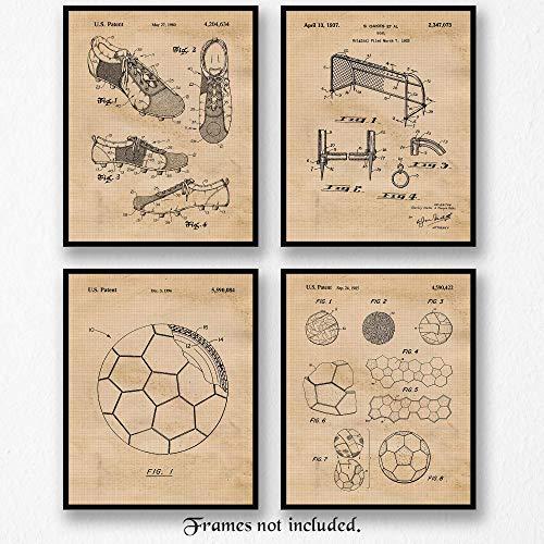 Original Soccer Patent Art Poster Prints- Set of 4 (Four 8x10) Unframed Photos- Great Wall Art Decor Gifts Under $20 for Home, Office, Garage, Man Cave, Student, Teacher, Coach, Futbol Fan, Blogger -