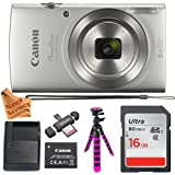 Canon PowerShot ELPH 180 Digital Camera with IS and Smart AUTO Mode (Silver), Ultra 16GB Memory Card, Camera Case and Premium Super Savings Accessory Bundle