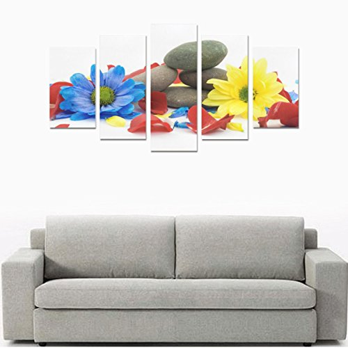 Custom Made Stones Gerbera Colorful Canvas Prints Bedroom or Living Room Features Art Deco Art Prints''5 Oil Paintings on Canvas (No Frame)'' by Personalized Canvas Printing