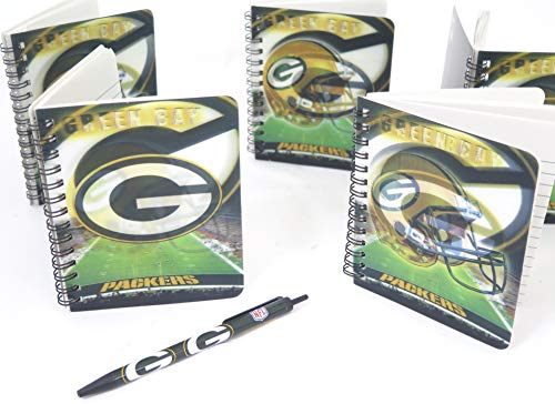 (Green Bay Packers spiral Journal memo pads 5 pack set.)