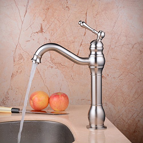Hiendure Deck Mount Bathroom Vessel Sink Faucet Single Lever Control Tall Spout Mixer Taps, Brushed Nickel