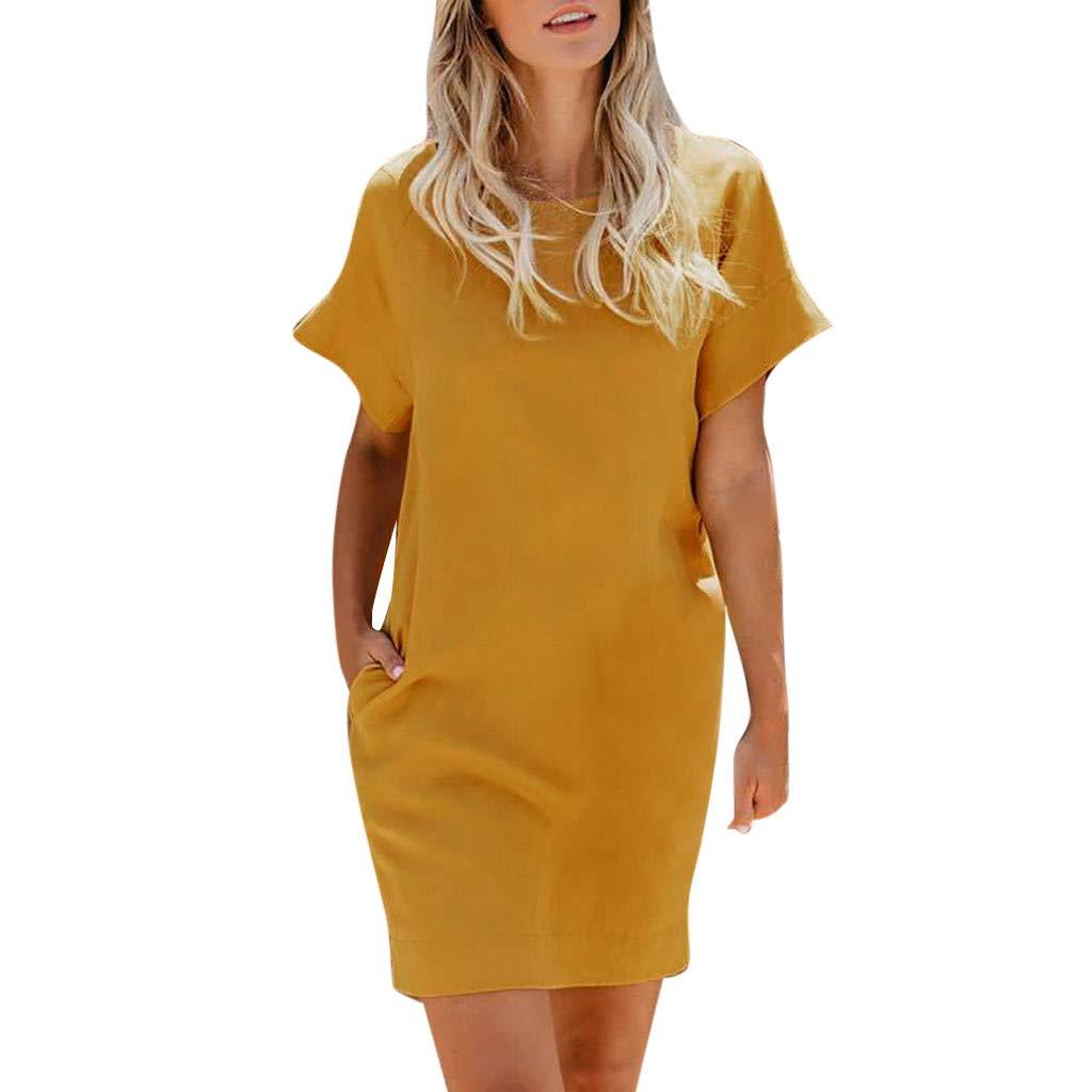 4905965187d3 Amazon.com  Women s Short Sleeve Pockets Casual Swing Loose T-Shirt Dress   Kitchen   Dining