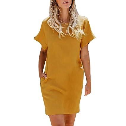 3038083e31b8 Amazon.com  Women s Short Sleeve Pockets Casual Swing Loose T-Shirt ...