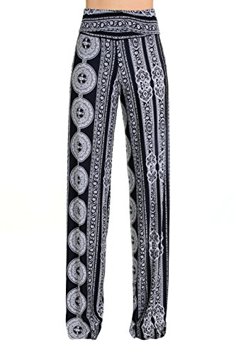 Uptown Apparel Womens Fold Over Waist Wide Leg Boho Printed Palazzo Pants!!-Ship from U.S.A(Los Angels) (M, BLACKWHITE9)
