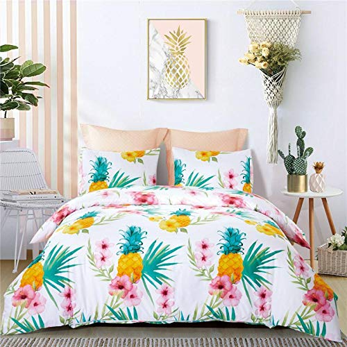 3 Pieces Bedding Set Pineapple, Twin Cozyholy Luxury Modern Duvet Cover Tropical Design Comforter Cover Vintage Bohemian Set Ultra Soft Zipper Closure