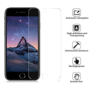"""WZS iPhone 6, 6S, 8, 7 Screen Protector, [3-Pack] Premium Tempered Glass with 99.99% HD Clarity and 3D Touch Accuracy, Tempered Glass Screen Protector for iPhone 6S, iPhone 6,iPhone 8, 7 [4.7"""" inch] by WZS"""