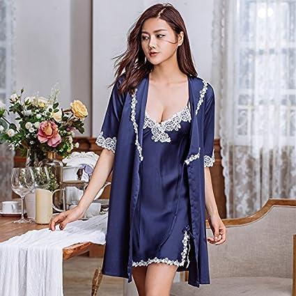 WXIN Pijama De Verano/Mujeres/Tirantes Camisón Femenino Vestido De Seda De Hielo De