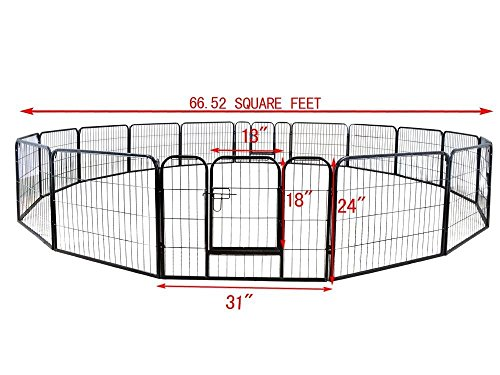 large-16-panels-pet-dog-cat-metal-exercise-barrier-fence-playpen-kennel-yard-new