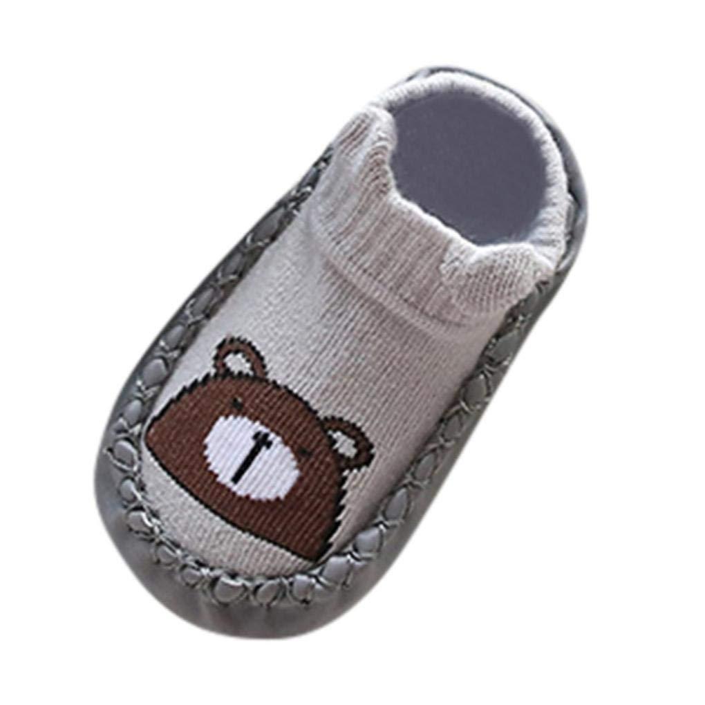 Lanhui Newborn Baby Cartoon Animal Girls Boys Anti-Slip Socks Shoes Boots (0-6Months, Gray)