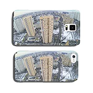 Many high residential buildings in neighborhood at winter cell phone cover case Samsung S5