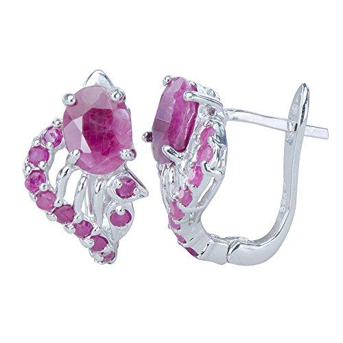 Petite Natural African Rare Red Ruby Gemstones 925 Sterling Silver Earrings ()