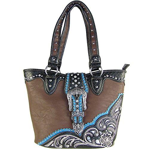 (Aztec Belt Buckle Concho Rhinestone Shoulder Handbag Brown)