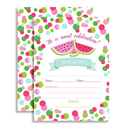 Watermelon Polka Dot Birthday Party Invitations, 20 5