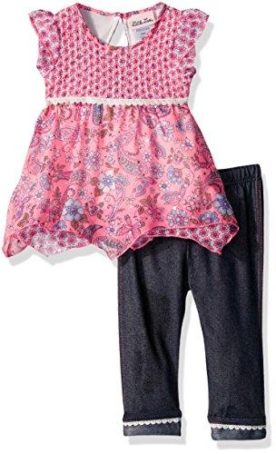 Little Lass Girls' 2 Piece Fashion Capri Set, Flamingo, 18M