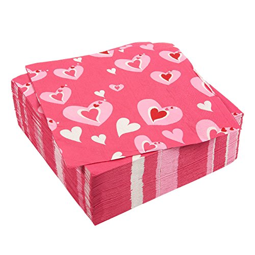100-Pack Cocktail Napkins - Valentine's Day Napkins with Cute Heart Print Design - Disposable Soft and Absorbent Napkins - Perfect for Luncheons, Dinners & Celebrations - 6.5 x 6.5 Inches Folded, Pink