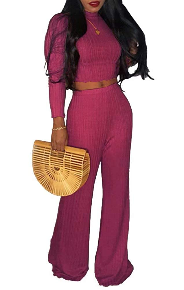 Womens Casual Solid 2 Piece Outfits Long Sleeve Turtleneck Crop Top High Waist Palazzo Long Pants Suit Plus Size