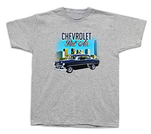 New Mens cotton T-shirt print 1955 Blue Chevrolet Bel Air hardtop car - Body Hardtop