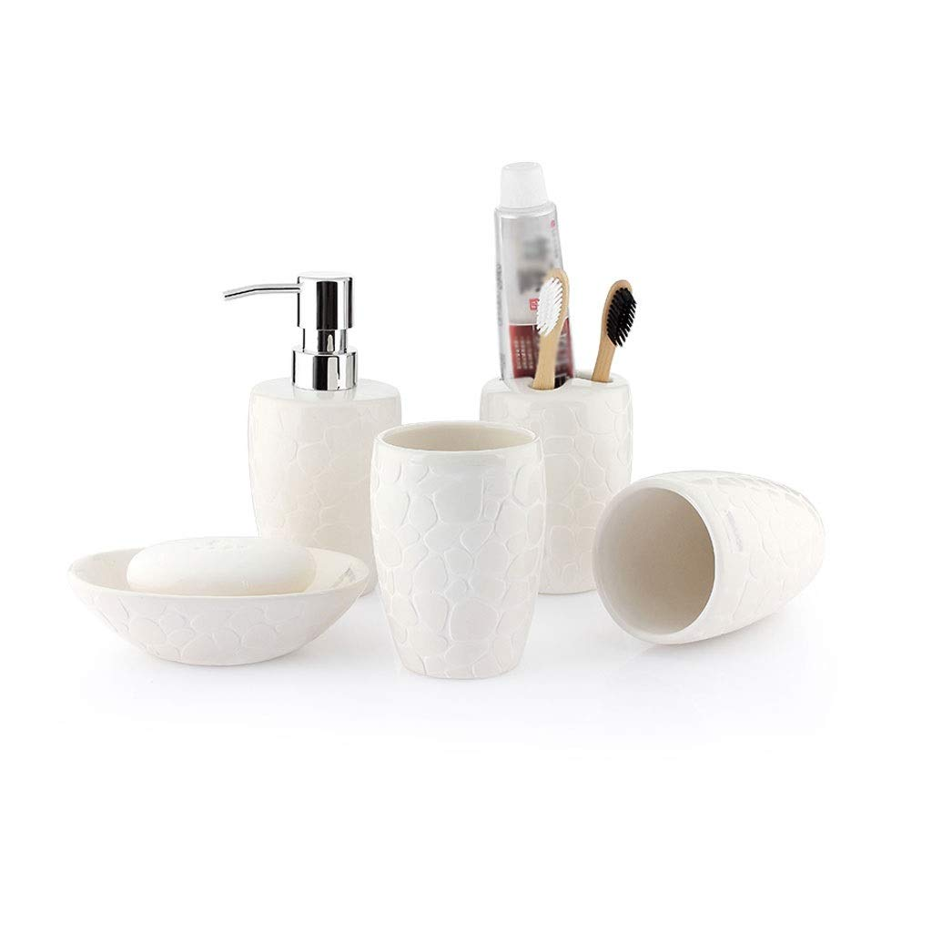 Bathroom Ceramic Accessories Set Soap Dish Rack Toothbrush Holder Soap Dispenser Washing Set -5 Sets (Color : White-5-piece Set)