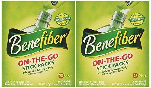 - Benefiber Stick Pack Fiber Supplement, Taste Free, Dissolves Completely 28-4g(0.14oz) 2PACK TOTAL 56 STICKS