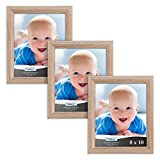 Icona Bay 8x10 Picture Frames, Set of 3 (8 x 10, Weathered Oak Wood Finish), Picture Frame Set for Wall Hang or Table Top, Cherished Memories Collection