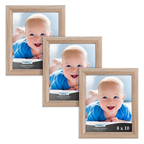 Icona Bay 8 by 10 Inch Picture Frames 3 Pack (8x10, Weathered Oak Wood Finish), Picture Frame Set For Wall Hang or Table Top, Cherished Memories Collection (Oak Frame Moulding Picture)