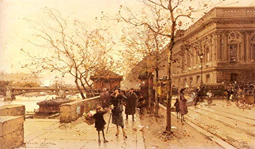 Toperfect $50-$2000 Custom Made - Handmade Oil Painting of Le Louvere Et La Passerelle Des Arts Parisian Eugene Galien Laloue Canvas Art Works -Size 08 - Painted by (Passerelle Des Arts)