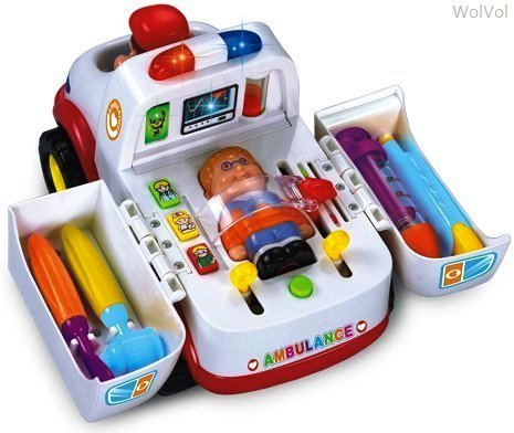 (WolVol Educational Ambulance Activity Toy with Medical Equipment, Realistic Sound Effects and Lights, Bump and Go)