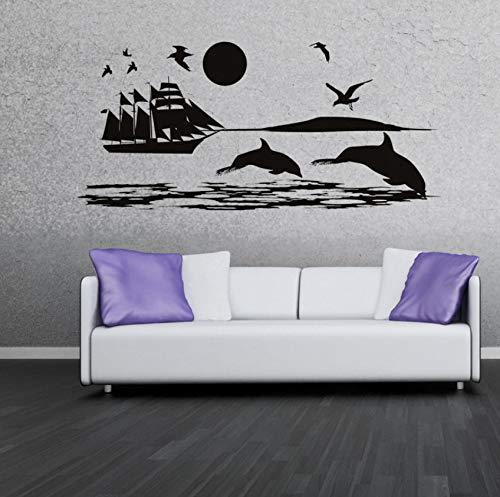 Pbldb Paisaje Mural Dolphins Gaviotas Y Barco En El Mar Etiqueta De La Pared Sala Estar Sofa Fondo Vinilo DIY Home Decor 88X44Cm -