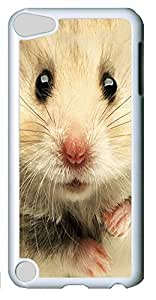 Fashion Customized Case for iPod Touch 5 Generation Cool White Plastic Case Back Cover for iPod Touch 5th with Sweet Hamster