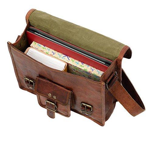 Krishna Leather New Mens Vintage Leather Satchel Messenger Shoulder Sling Handbag 7 x 9