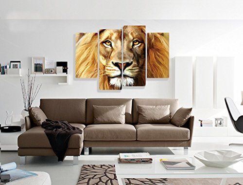 Nuolanart- 4 Panels Large Size Cool Lion Face Canvas Wall Art - Stretched Ready to Hang High Quality Oil Painting Print Modern Art for Decoration -P4S004 by Nuolan Art (Image #3)