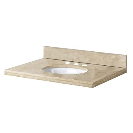 Pegasus 25996 25-Inch by 22-Inch Solid Travertine Vanity Top, Ivory Select