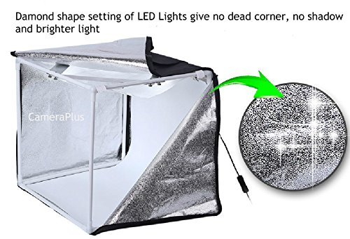 CameraPlus - 60cm Professional Portable Photo Studio Home Light Box Cube Tent with LED Lights (60CM Lightbox with LED Lights)