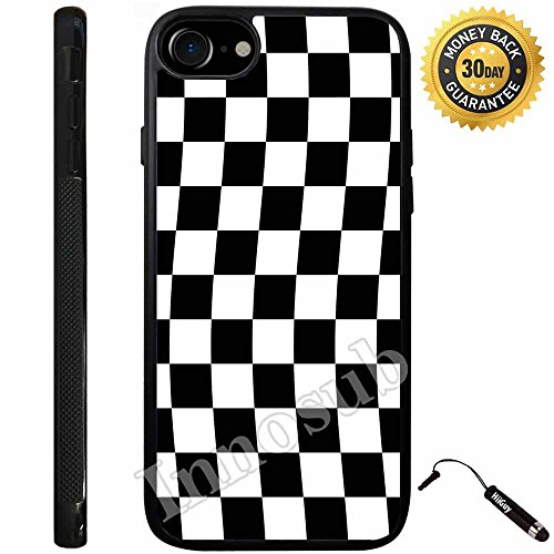 Custom iPhone 7 Case (Checkered Flag Finish Line) Edge-to-Edge Rubber Black Cover with Shock and Scratch Protection | Lightweight, Ultra-Slim | Includes Stylus Pen by Innosub