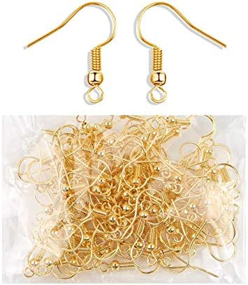 100 PCS Gold Earring Hooks Hypoallergenic Stainless Steel Earrings Fish Hooks with 100 PCS Clear Rubber Earring Backs for Jewelry Making DIY